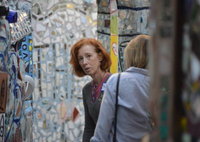 Mary Anne Szkaradnik and Samantha Burke at Philadelphia's Magic Gardens during a session led by ARTZ Philadelphia