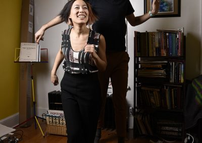 Sunny Lai and John Best dancing at home